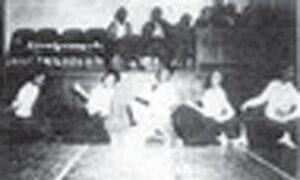 CHEERLEADERS — Left to right, Corine Osley, Catharine Jackson, Henry Baker, Margie Foster and Sarah Jo Richardson.