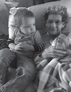 Dorothy Pennington Tacket with her youngest greatgrandson Canaan James Holbrook.