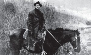 """Bad John"" Wright posed on horseback for this undated photo, which is part of the University of Kentucky's Jenkins Photographic Collection."