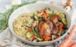 Roasted Chicken Thighs and Veggies with Mushroom Orzo Risotto