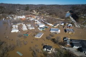 In photos above and below, the city of Beattyville, Ky., located in Lee County, sits underwater Tuesday following heavy rains which caused the Kentucky River to flood. (Alex Slitz/Lexington Herald-Leader)