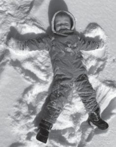 Colden Persh makes a snow angel. He is the grandson of Denver Whitaker, Kingscreek, and Janey Calihan of Ohio.