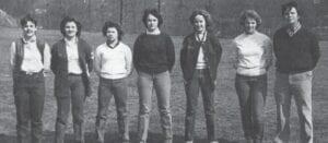 GIRLS' GOLF 1983 — Let to right: Elisa Maynard, Mel Greer, Stephanie Mullins, Grace Walters, Lisa Lucas, Shane Everidge, Coach Deno Johnson