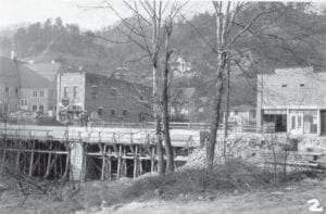 The bridge over the North Fork of the Kentucky River on Main Street in Whitesburg was being constructed in this 1941 photo. (Courtesy University of Kentucky)