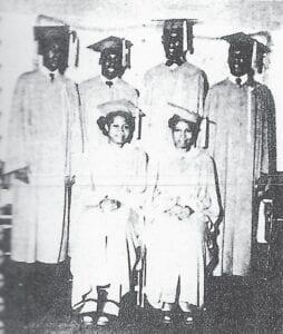Graduating Class of 1947 — Dunham Colored High School. Standing (left to right), Wm. E. Brown, Eddie Joe Cooper, John Edward Adams, Spurgeon Mark Foster. Sitting (left to right), Alberta Ellis, Eloise Glover.