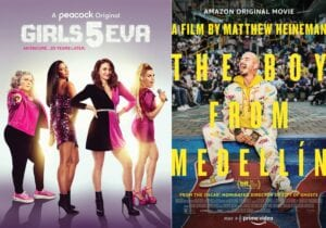 """This combination of photos shows promotional art for """"Girls5eva,"""" a Peacock original series premieringThursday, left, and """"The Boy from Medellin,"""" afilm premiering Friday on Amazon. (Peacock/Amazon via AP)"""