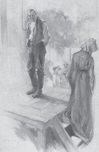 """This drawing depicts Talt Hall with his sister before the Letcher County native's hanging in Wise, Virginia. """"Hall stood as motionless on the trap door as an oak,"""" John Fox Jr. wrote."""