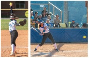 LADY COUGARS IN ACTION — Letcher County Central softball pitcher Alyssa Nicely (left) is among Kentucky's top 25 pitchers in earned run average, ranking No. 15 with a 1.20 ERA. Above left, LCC's Raygan Anderson is one of three Lady Cougars seniors, along with teammates Gracie McDougal and Madison Parsons. LCC is 14-6 on the season going into action at home Tuesday against Harlan.