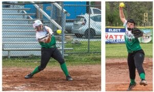 GOING, GOING, GONE — Jenkins freshman Alexis Ritchie (above left) crushes a pitch for a solo home run in a recent 10-0 win over Cordia. Ritchie was 2-2 in the game, also recording a triple. Above right, Jenkins pitcher Kristin Thacker is also among the state's top 25 pitchers in earned run average, coming in No. 24 with a 1.33 ERA. The Lady Cavaliers had a record of 8-10 going into action Tuesday.