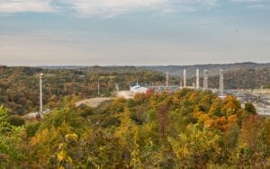 Overview of natural gas fracking pad near Moundsville, West Virginia. (Photo by Steve Heap)