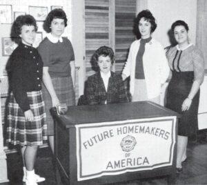 F.H.A. OFFICERS — President Barbara Anderson; Treasurer Patsy Phillips; Sponsor Elizabeth Jordan; Vice President Judy Farley; Secretary Donna Wright.