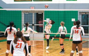 The Lady Cavaliers got their second volleyball win of the season in action last Wednesday on the road at Cordia. The Lady Cavs bested the host Lady Lions in three sets, winning 27-25, 25-20 and 25-15. Jenkins will round out the 2021 schedule mostly on the road, having only two more home matches on the schedule. They'll host Hazard on Sept. 27 and Cordia on Oct. 5. Pictured here, Jenkins' Anna Eldridge bumps the ball into the air in home volleyball action against the visiting Lady Raiders from JI Burton High School in Norton, Virginia. The Lady Cavaliers fell in three sets in the Sept. 8 matchup. Pictured along with Eldridge are teammates Hannah Damron and Hallie Fleming. (Photo by Chris Anderson)