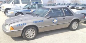 This 1990 Ford Mustang is among the Kentucky State Police show vehicles that will be on display at Saturday's car show at the old Whitesburg High School.